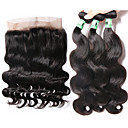 cheap Closure & Frontal-Malaysian Hair Body Wave Human Hair Hair Weft with Closure Human Hair Weaves Soft Human Hair Extensions