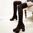 cheap Women's Boots-Women's Shoes Fleece Winter Boots Chunky Heel Thigh-high Boots Black / Brown