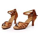 cheap Latin Shoes-Women's Latin Shoes Silk Sandal Rhinestone Customized Heel Customizable Dance Shoes Brown / Indoor / Leather
