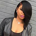 povoljno Zidni svijećnjaci-Ljudska kosa Full Lace Perika Ravan kroj Perika 130% Gustoća kose Prirodna linija za kosu Afro-američka perika 100% rađeno rukom Žene Kratko Srednja dužina Perike s ljudskom kosom
