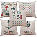 cheap Pillow Covers-5 pcs Linen Natural / Organic Pillow Case Pillow Cover, Solid Colored Floral Plaid Textured Casual Beach Style Euro Bolster Traditional /