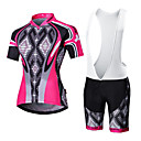 cheap Cycling Jersey & Shorts / Pants Sets-Malciklo Men's Women's Short Sleeves Cycling Jersey with Bib Shorts - White Black British Bike Clothing Suits, Quick Dry, Breathable, 3D