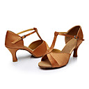cheap Totes-Women's Latin Shoes Silk Sandal Customized Heel Customizable Dance Shoes Brown / Indoor / Leather