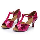 baratos Sapatos de Dança Latina-Mulheres Sapatos de Dança Latina Paetês Sandália Lantejoulas Salto Personalizado Personalizável Sapatos de Dança Fúcsia / Interior