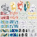 baratos Adesivos de Unhas-12Designs/set Adesivos Adesivo de transferência de água arte de unha Manicure e pedicure Adesivo Liso / Design Moderno Decalques de unha Diário