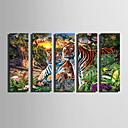 baratos Impressões-Animais Modern, 5 Painéis Tela de pintura Vertical Estampado Decoração de Parede Decoração para casa