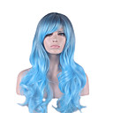 cheap Synthetic Capless Wigs-Synthetic Wig Wavy Asymmetrical Haircut Synthetic Hair Natural Hairline Blue Wig Women's Long Capless