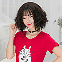 cheap Synthetic Capless Wigs-Synthetic Wig Wavy Bob Haircut / With Bangs Synthetic Hair Brown / Gray Wig Women's Short Capless