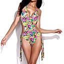 رخيصةأون باروكات كابلس صناعية-M L XL تصميم, ملابس السباحة ملابس البحر التقزح اللوني قبة مرتفعة حول الرقبة زهري شرابة دانتيل يغرق نسائي