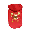 cheap Pet Christmas Costumes-Dog Hoodie Dog Clothes Reindeer Red Cotton Costume For Pets Christmas