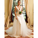 cheap Models & Model Kits-Sheath / Column V Neck Chapel Train Lace / Tulle Made-To-Measure Wedding Dresses with Appliques by LAN TING BRIDE® / Removable train / See-Through