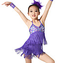 preiswerte Kindertanzkleidung-Latein-Tanz Austattungen Training Elasthan / Pailletten Paillette / Quaste Ärmellos Normal / Latintanz / Aufführung / Ballsaal
