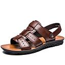 cheap Men's Sandals-Men's Cowhide Spring / Summer Comfort Sandals Water Shoes Black / Dark Brown