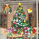 preiswerte Vorhang  & Volant Set-Fenster Film & Aufkleber Dekoration Weihnachten Bäume / Blätter PVC / Vinyl Fenster-Aufkleber