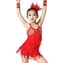 preiswerte Ballettbekleidung-Latein-Tanz Austattungen Damen Leistung Elasthan Elastan Pailletten Lycra Pailetten Quaste Ärmellos Normal Kleid Armbänder Kopfbedeckung