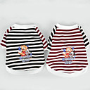 cheap Dog Clothes-Dog Shirt / T-Shirt Dog Clothes Stripe Brown Red Cotton Costume For Pets Men's Women's Casual/Daily