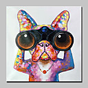 olcso Állatos festmények-Hang festett olajfestmény Kézzel festett - Állatok Absztrakt Modern Vászon