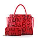 baratos Conjunto de Bolsas-Mulheres Bolsas PU Conjuntos de saco Ziper Preto / Vermelho / Marron