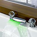 baratos Torneiras de Banheiro-torneira pia do banheiro - cascata cromo generalizada duas alças de três furos levou