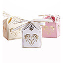 cheap Practical Favors-Cubic Card Paper Favor Holder with Ribbons Favor Boxes Gift Boxes - 25