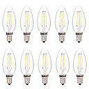 cheap LED Filament Bulbs-BRELONG® 10pcs 2W 200lm E14 LED Filament Bulbs C35 2 LED Beads COB Dimmable Warm White White 220-240V