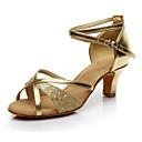 זול נעליים לטיניות-בגדי ריקוד נשים Paillette / דמוי עור נעליים לטיניות עקבים עקב מותאם מותאם אישית זהב / כסף / הצגה