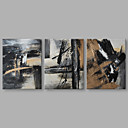 cheap Oil Paintings-Oil Painting Hand Painted - Abstract Artistic Stretched Canvas / Three Panels