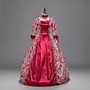 Χαμηλού Κόστους Περούκες Cosplay Ανιμέ-Rococo Victorian Στολές Γυναικεία Κοστούμι πάρτι Κόκκινο Πεπαλαιωμένο Cosplay Ύφασμα με Βάτα 3/4 Μήκος Μανικιού Μέχρι τον αστράγαλο Κοστούμια Halloween