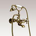 baratos Acessórios de Limpeza de Cozinha-Torneira de Banheira - Estilo Clássico / Luxo Ti-PVD Montagem de Parede Vãlvula Latão Bath Shower Mixer Taps / Três Handles dois furos