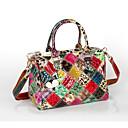 cheap Bag Sets-Women's Bags Cowhide Tote Appliques / Plaid / Split Joint Rainbow