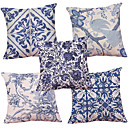 cheap Pillow Covers-Set of 5  Chinese Style Blue and White Pattern  Decorative Chenille Square Throw Pillow Cases Sofa Cushion Covers (18*18inch)