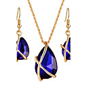 cheap Party Supplies-Women's Crystal Jewelry Set - Crystal, Rhinestone Drop Luxury, Dangling Style, Bohemian Include Necklace / Earrings / Bridal Jewelry Sets Black / Dark Blue / Red For Christmas Gifts / Wedding / Party