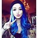 halpa Synteettiset peruukit ilmanmyssyä-Synteettiset pitsireunan peruukit Laineita Tyyli Lace Front Peruukki Sininen Laivastosininen Synteettiset hiukset Naisten Luonnollinen hiusviiva Sininen Peruukki Pitkä Uniwigs Luonnollinen peruukki