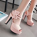 cheap Women's Heels-Women's Shoes PU(Polyurethane) Summer Comfort Heels Chunky Heel Peep Toe Bowknot Black / Light Purple / Pink