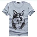 cheap Men's Sneakers-Men's Active Cotton / Linen Slim T-shirt - Animal Wolf, Print Round Neck