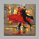 cheap Prints-Oil Painting Hand Painted - People Art Deco / Retro Rolled Canvas