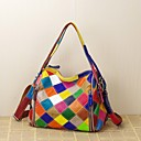 cheap Totes-Women's Bags Cowhide Tote Plaid / Split Joint Rainbow
