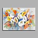 رخيصةأون لوحات الطبيعة-هانغ رسمت النفط الطلاء رسمت باليد - الأزهار / النباتية الحديث كنفا