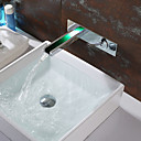 cheap Drains-Bathroom Sink Faucet - Waterfall Chrome Wall Mounted Single Handle Two HolesBath Taps / Brass