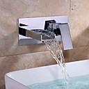 billige Væg Lamper-Håndvasken vandhane - Vandfald Krom Udspredt Enkelt håndtere to Huller / Messing