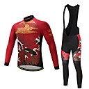 cheap Tools, Cleaners & Lubricants-Men's Long Sleeves Cycling Jersey with Bib Tights - Burgundy Bike Clothing Suits, 3D Pad, Quick Dry, Sweat-wicking, Summer, Polyester