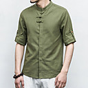 cheap LED String Lights-Men's Linen Shirt - Solid Colored Standing Collar