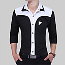 cheap Men's Slip-ons & Loafers-Men's Slim Shirt - Color Block Black & White, Patchwork Spread Collar / Long Sleeve