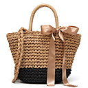 cheap Shoulder Bags-Women's Bags Straw Tote Bow(s) Black / Gray / Brown