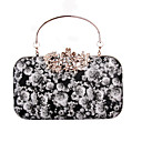 cheap Rubik's Cubes-Women's Bags PU Evening Bag Rhinestone / Pattern / Print / Printing White / Black / Black Grey