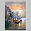 povoljno Apstraktno slikarstvo-Hang oslikana uljanim bojama Ručno oslikana - Pejzaž Sažetak Moderna Bez unutrašnje Frame