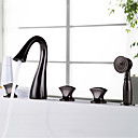 cheap Rings-Bathtub Faucet - Antique / Luxury Oil-rubbed Bronze Widespread Brass Valve / Three Handles Five Holes
