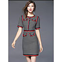 preiswerte Modische Uhren-Damen Ausgehen Baumwolle Hülle Kleid Einfarbig / Verziert Übers Knie