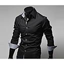 abordables Camisas de Hombre-Hombre Negocios / Chic de Calle Trabajo Algodón Camisa, Cuello Inglés Delgado Bloques Azul Marino XL / Manga Larga