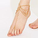cheap Anklet-Crystal Layered / Tassel Anklet Barefoot Sandals - Crystal Tassel, Vintage, Party White / Golden For Party / Beach / Women's